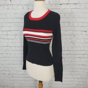 Kendall & Kylie Sweater Black Red Stripe S